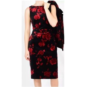 NWT Black & Red Rose Velvet Wiggle Dress